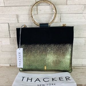 Thacker NWT LE POUCH Hammered Gold Ombré Suede Bag